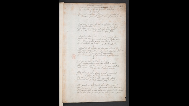 Autograph poem by Dryden on the death of Oliver Cromwell