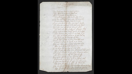 Page containing the opening of a poem titled 'The Queen's Majesty', handwritten by Katherine Philips