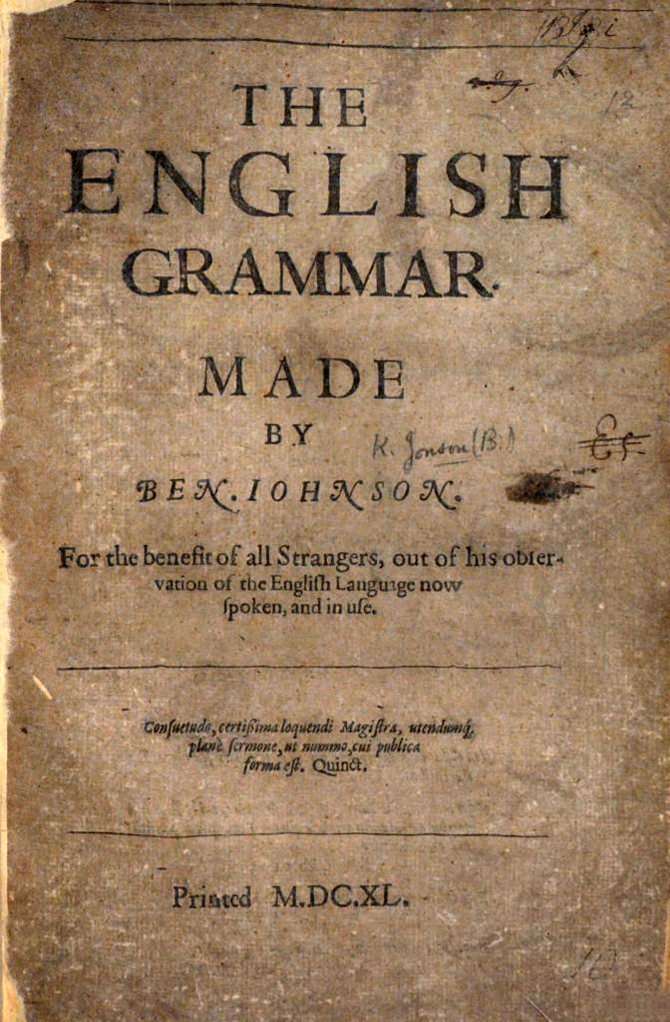 Ben Jonson's The English Grammar titlepage