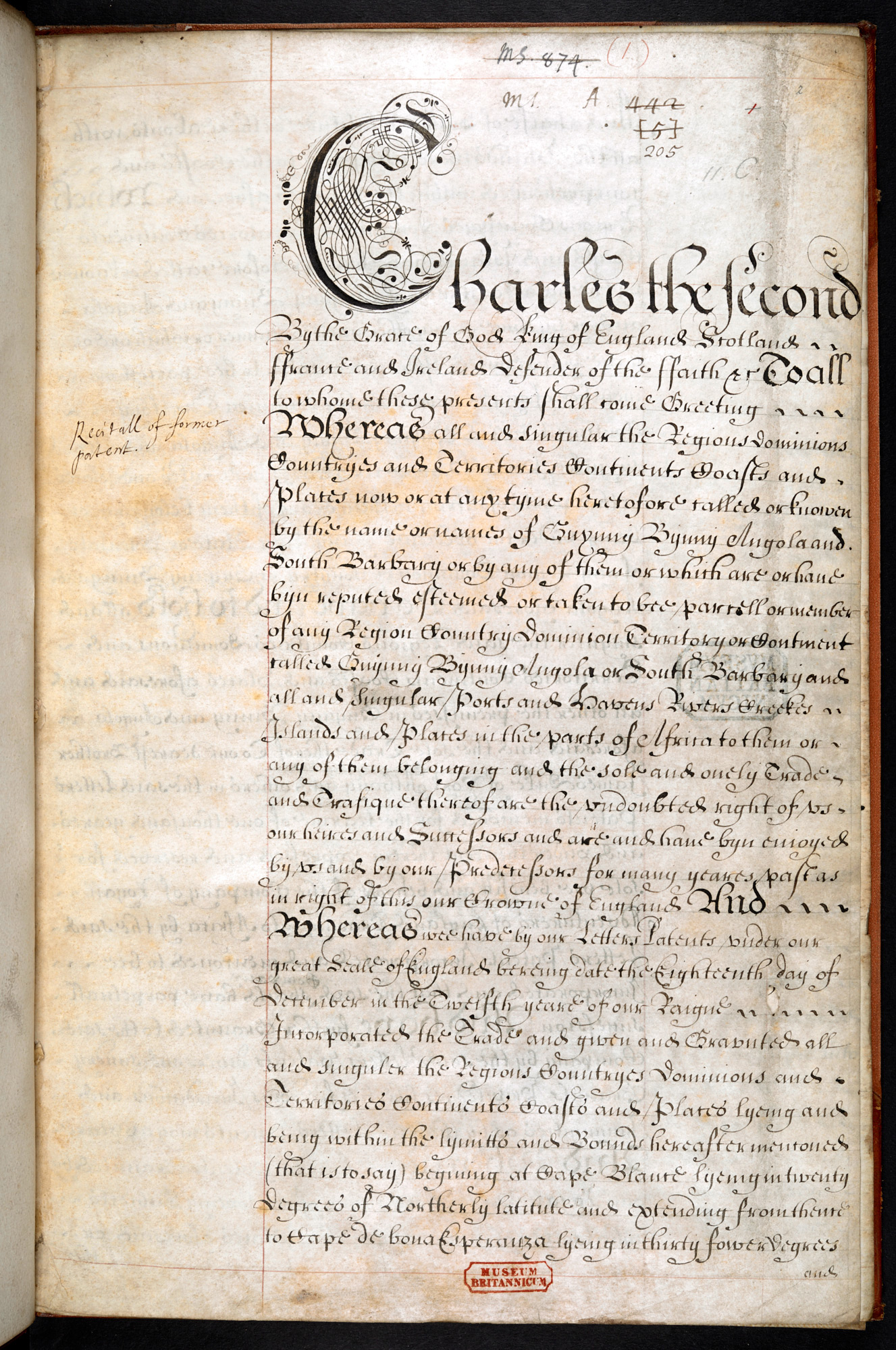 Charter Granted to the Company of Royal Adventurers of England etc