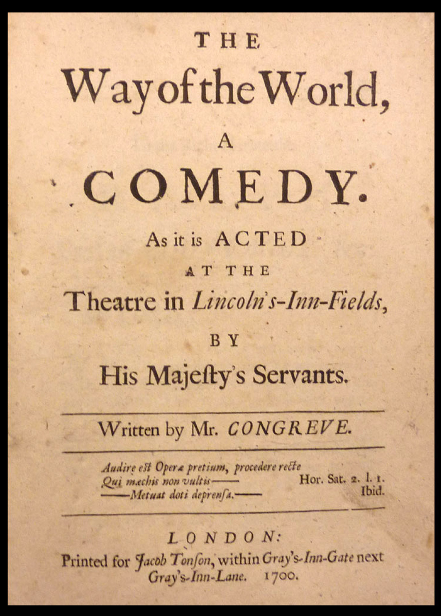 Congreve's The Way of the World