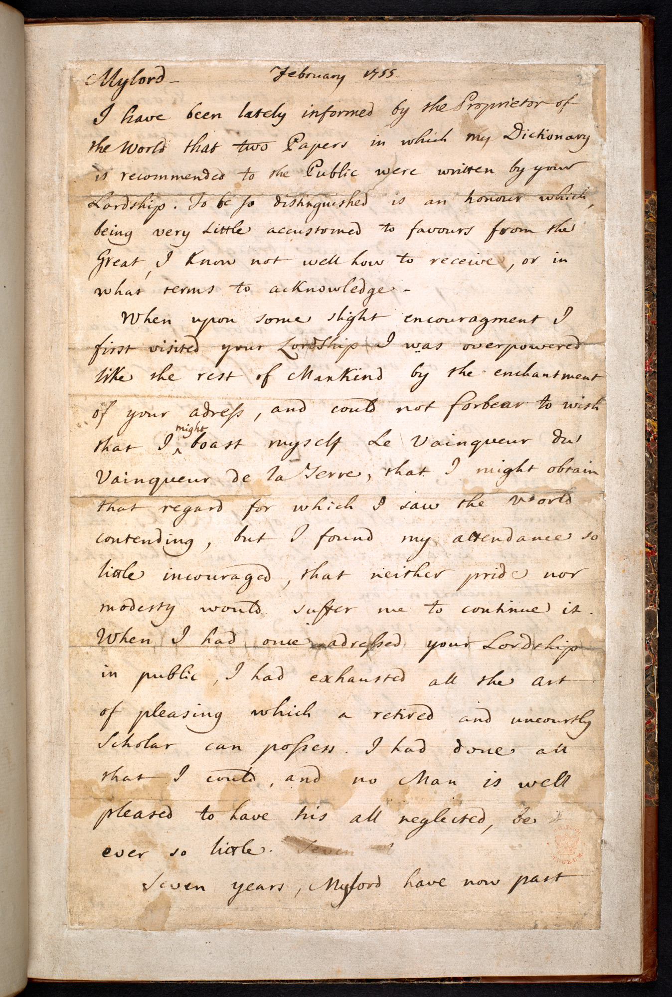 Copy of the letter from Samuel Johnson to the Earl of Chesterfield