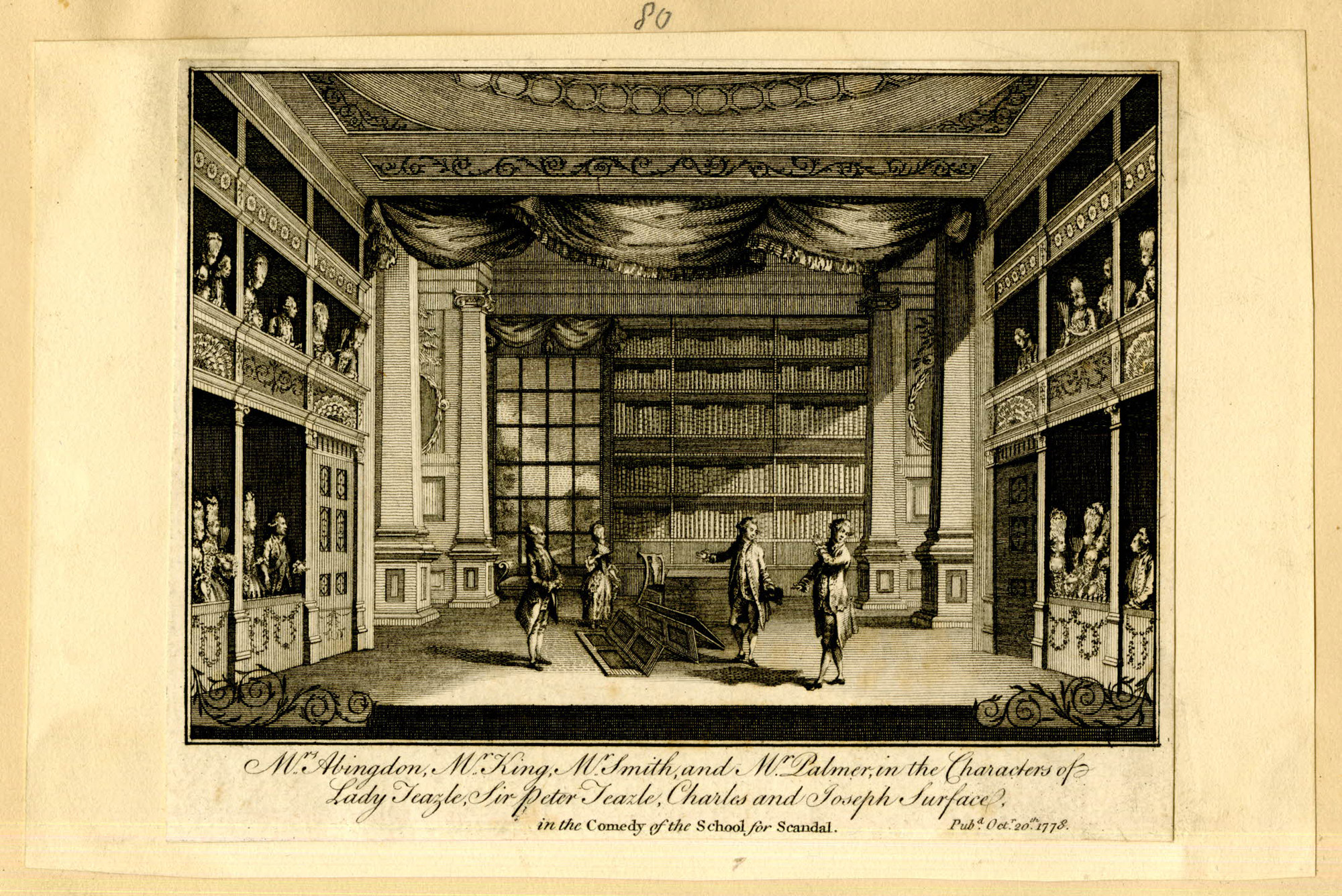 Engraving Of The Screen Scene From Sheridans The School For Scandal