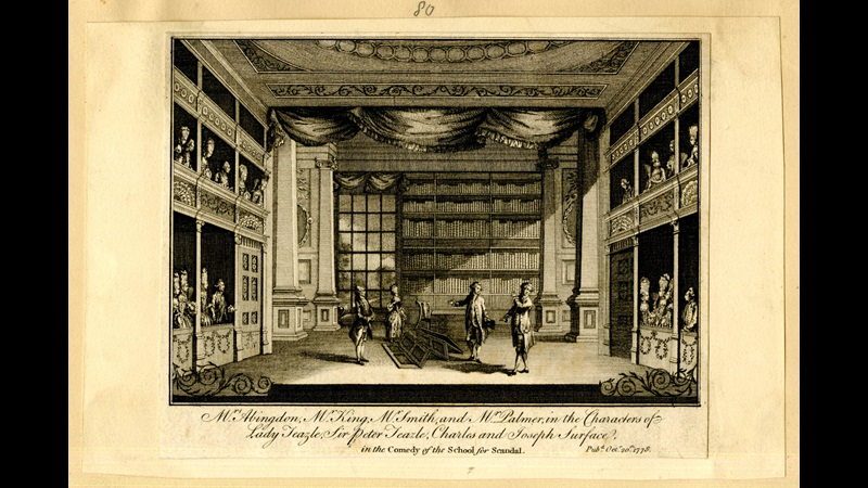 Engraving of the screen scene from Sheridan's The School for Scandal