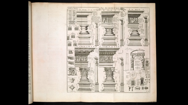 Diagrams of architectural columns and details in the styles of ancient Rome and Greece, from Ephraim Chambers' Cyclopaedia, 1741