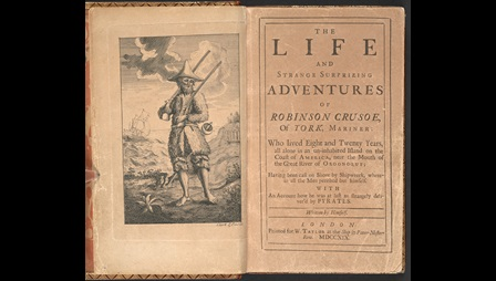First edition of Daniel Defoe's Robinson Crusoe, 1719