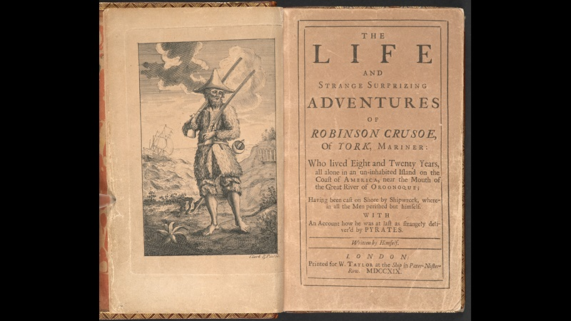 Illustration of Robinson Crusoe and title page from the first edition of Daniel Defoe's Robinson Crusoe, 1719