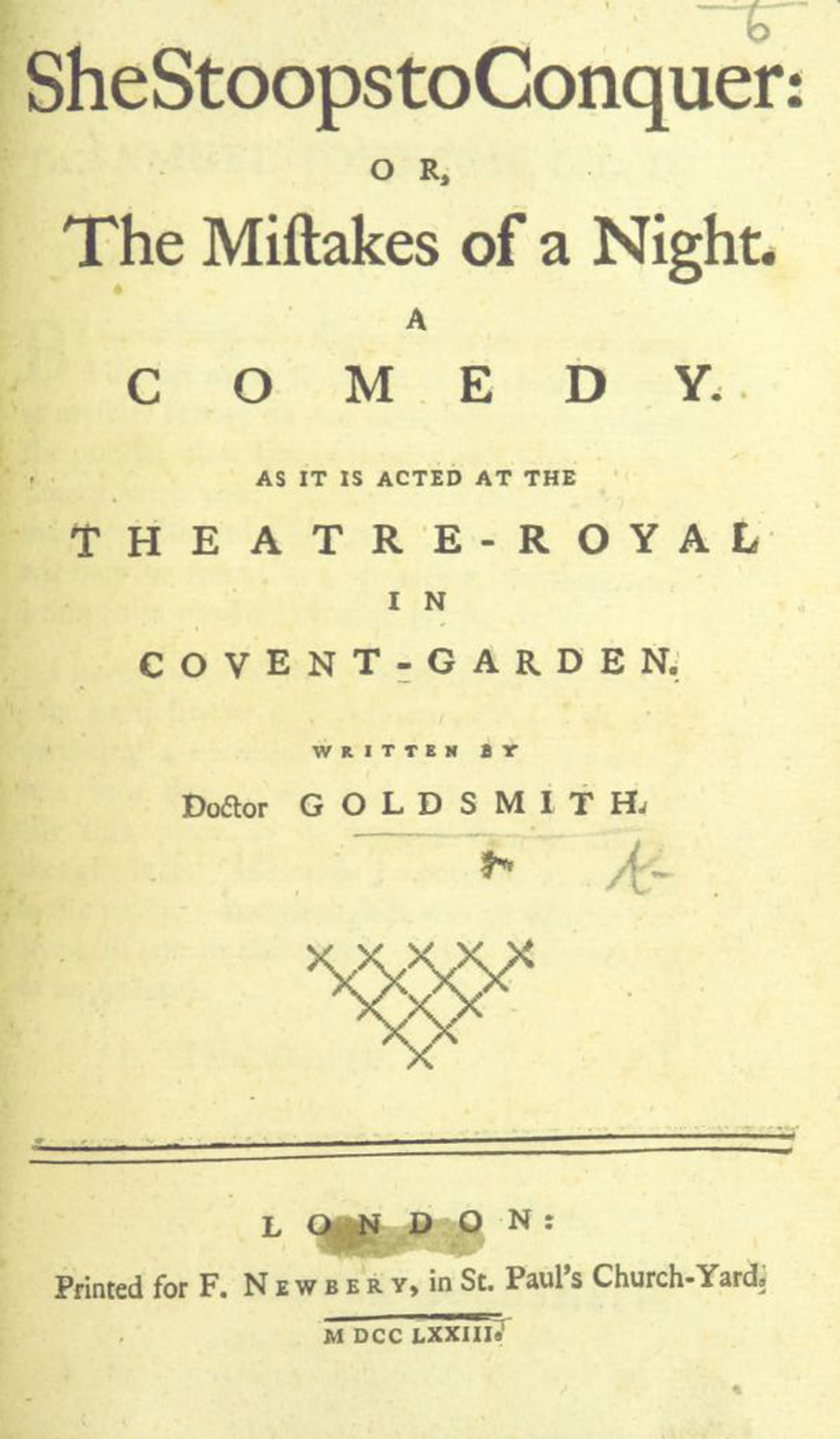 First edition of She Stoops to Conquer, 1773
