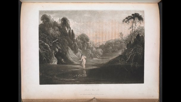 Engraved illustration of Eve gazing at her own reflection in a river, from a 1827 edition of Paradise Lost