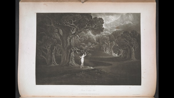 Etching depicting Eve plucking the forbidden fruit and the serpent in the tree, from John Martin's illustrations for Paradise Lost, 1827
