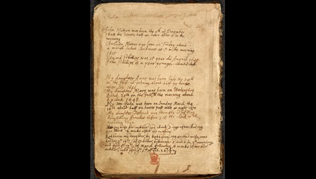 Flyleaf from John Milton's family Bible with his handwritten notes on his family's births and deaths