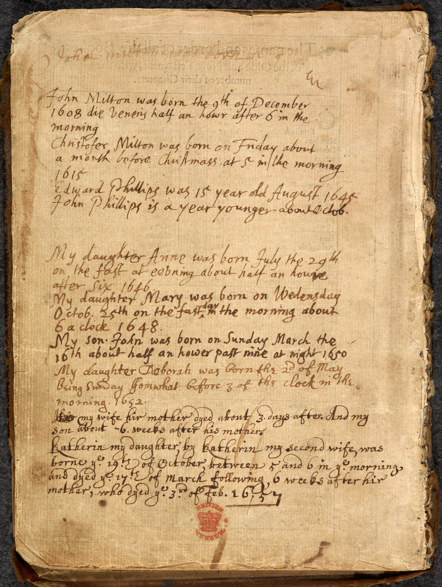 John Milton's family Bible