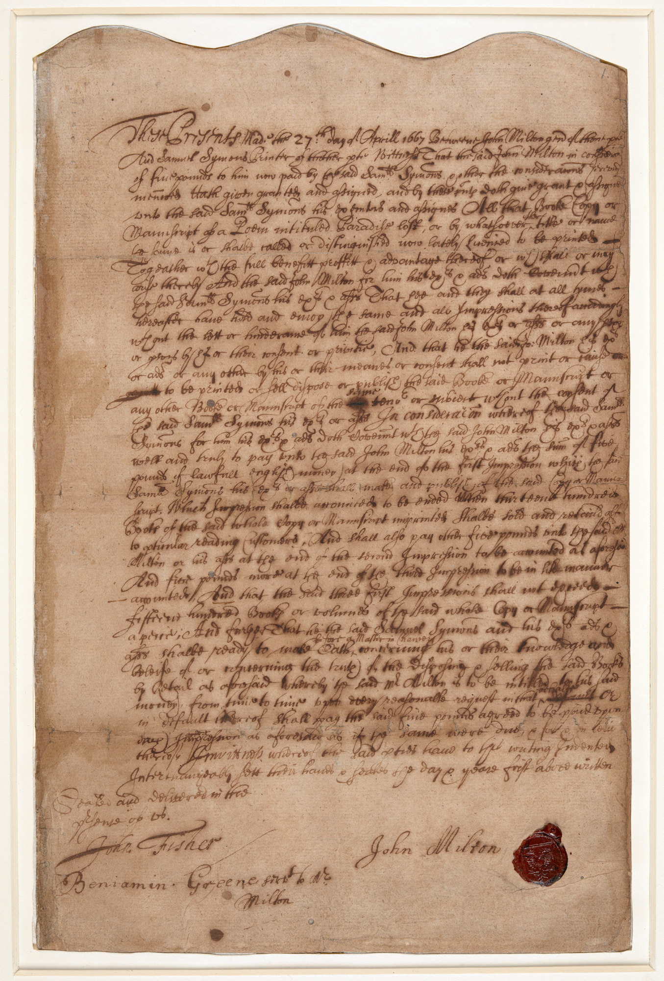 John Milton's publishing contract for Paradise Lost, 1667