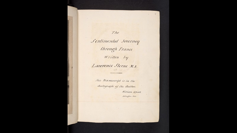 Laurence Sterne's manuscript draft of the first part of A Sentimental Journey