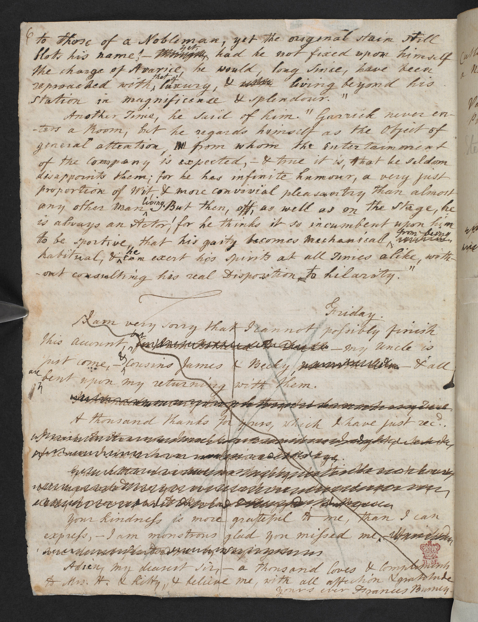 Letters from Frances Burney to Samuel Crisp, one defending the single life and the other describing Samuel Johnson