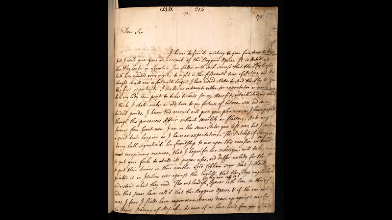 Letters from John Gay to Jonathan Swift about The Beggar's Opera