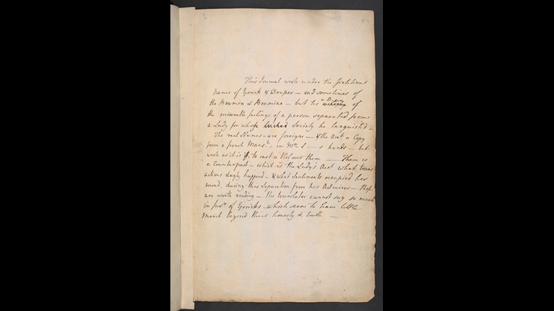 Manuscript of 'The Bramine's Journal' by Laurence Sterne, 1767