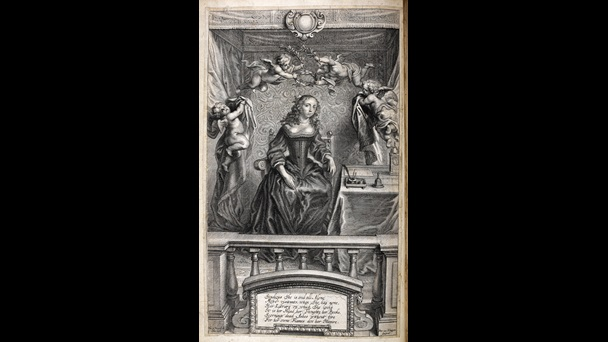 Portrait of Margaret Cavendish, depicted sitting alone at her desk surrounded by writing materials, with cherubs placing a laurel upon her head