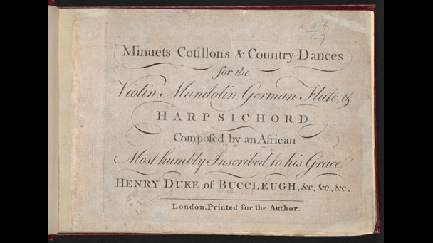 Printed title page from Minuets, Cotillons and Country Dances by Ignatius Sancho, containing the text 'composed by an African'