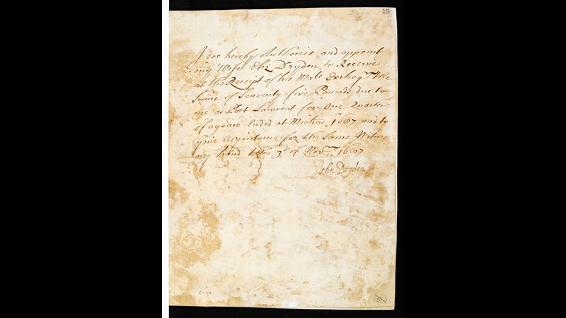 Note by Dryden authorising his wife to collect his Poet Laureate's salary