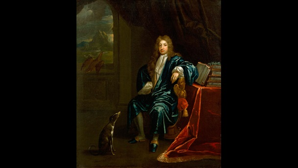 Painted portrait of John Dryden, who is sat next to a pile of books, dressed in blue silk, and with a dog at his feet