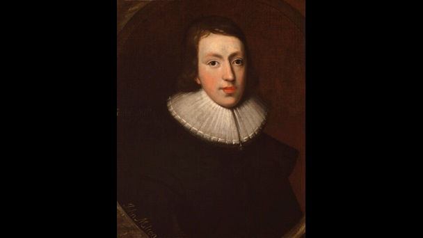 Painted portrait of John Milton as a young man, dressed in black with a white wide collar
