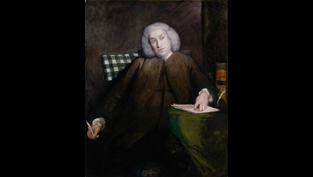 Painted portrait of Samuel Johnson, seated with a quill in one hand and another hand resting on pieces of paper