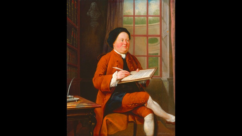 Painted portrait of Samuel Richardson, seated next to a desk and writing on a handheld board