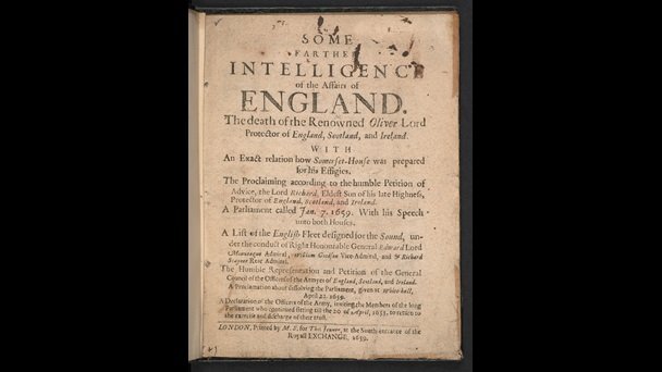 Pamphlet on the death of Oliver Cromwell