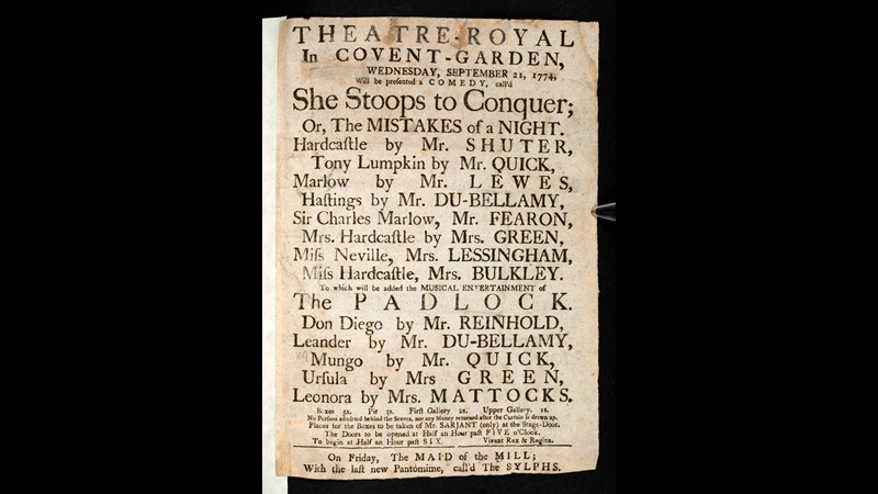 Printed playbill advertising a performance of She Stoops to Conquer at the Theatre Royal Covent Garden