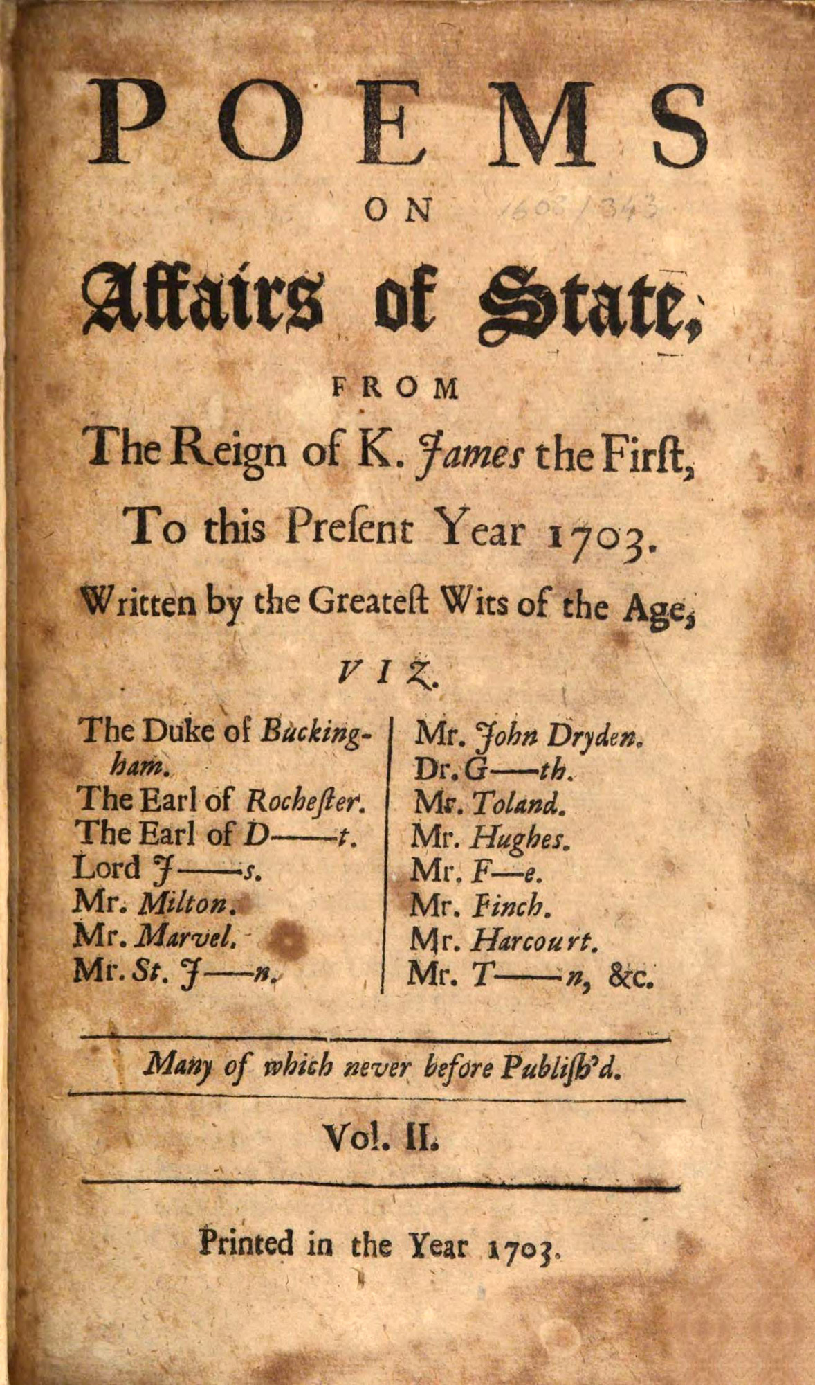 Poems on Affairs of State, 1703