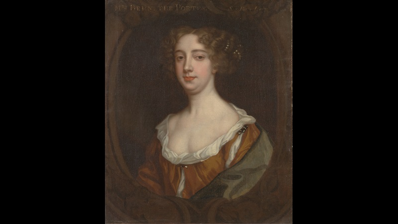 Painted portrait of Aphra Behn, who is looking forwards and wears a dress typical of the early 1670s
