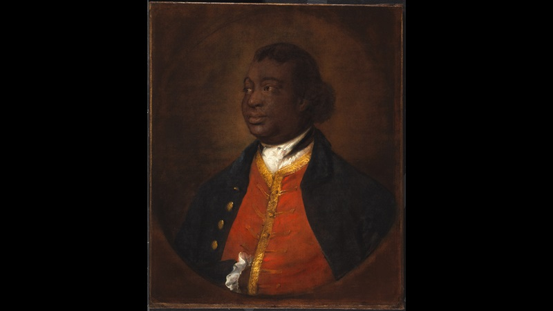 Painted portrait of Ignatius Sancho looking to the left, in formal dress including a red waistcoat with gold trim