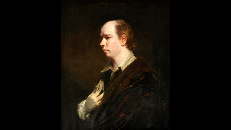 Painted portrait of Oliver Goldsmith in side profile, wearing a dark cloak or jacket, holding a book to his chest, and looking to the left