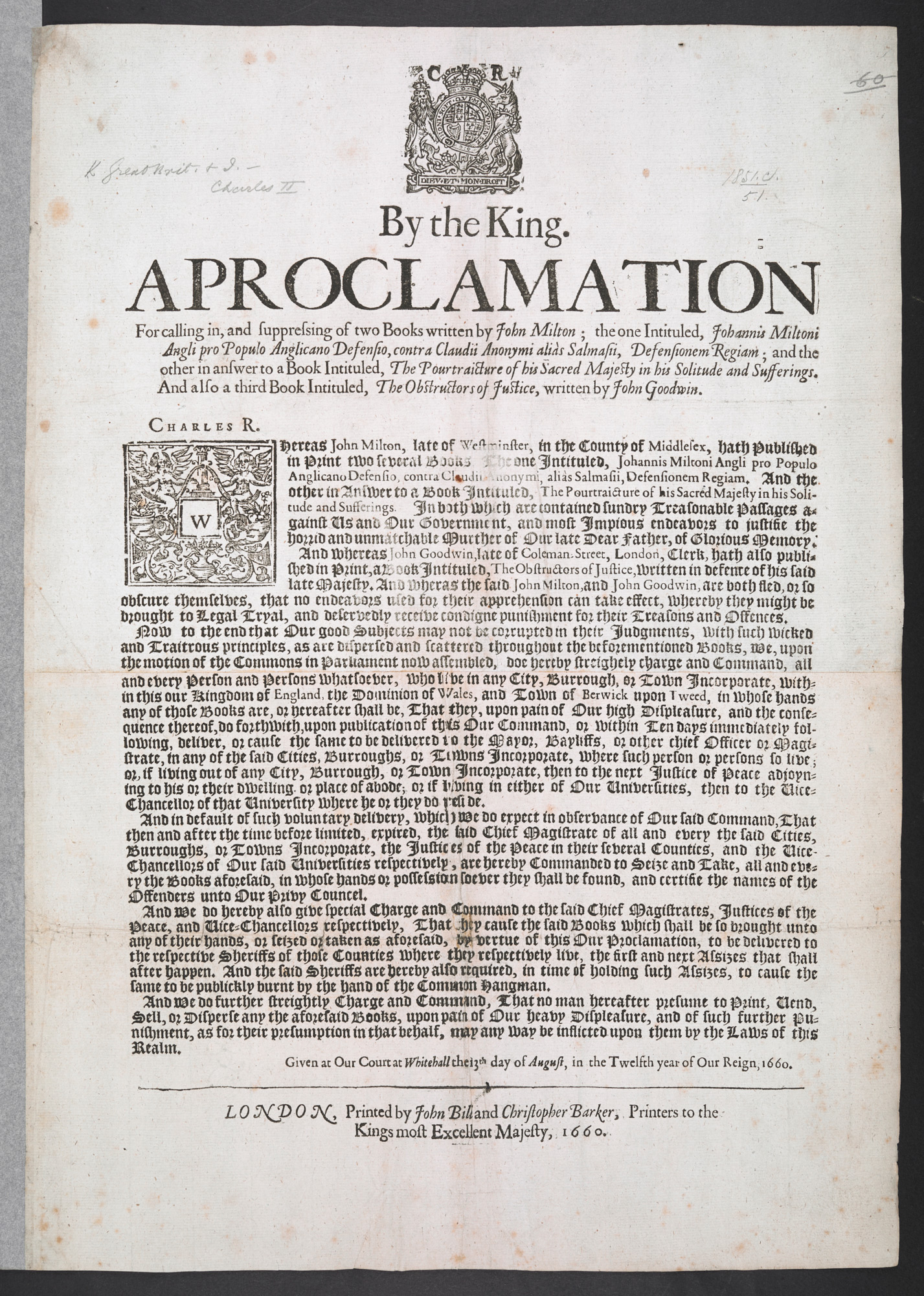 Royal proclamation banning books by John Milton, August 13 1660