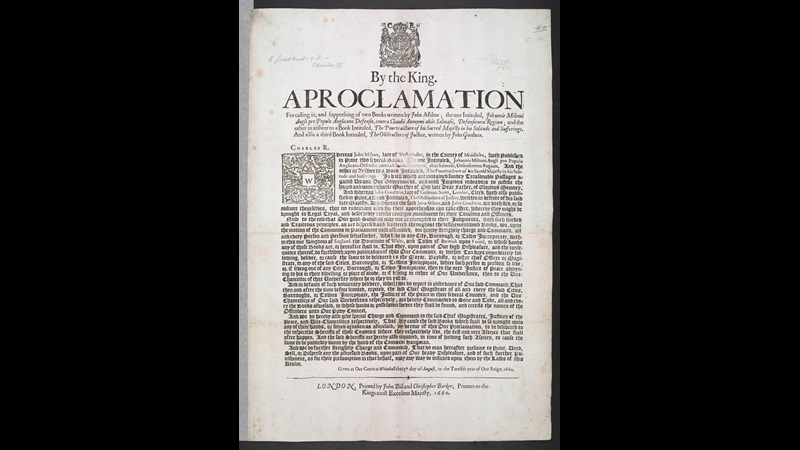 Single printed sheet issuing a proclamation by the king bannings books by John Milton, August 13 1660