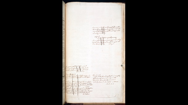 Page of Samuel Johnson's handwritten notes in a copy of his Dictionary