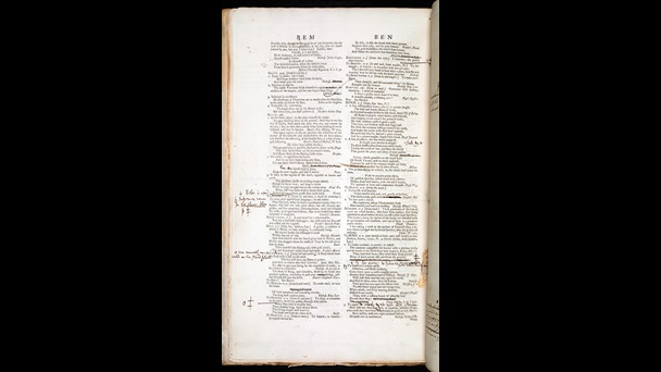 Page listing words beginning with 'bem' and 'ben' plus handwritten notes and cuts, from Samuel Johnson's Dictionary