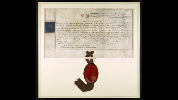 Samuel Johnson's handwritten Masters diploma with ribbon and seal