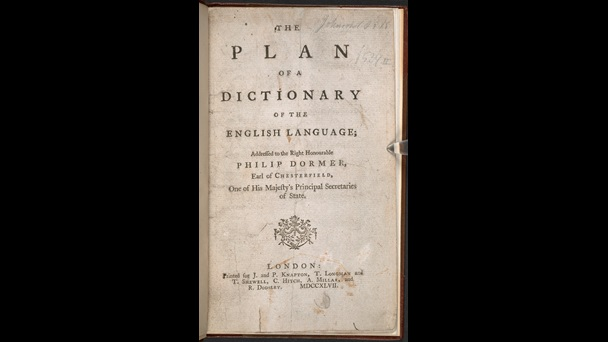 Printed title page from Samuel Johnson's Plan of a Dictionary of the English Language, 1747