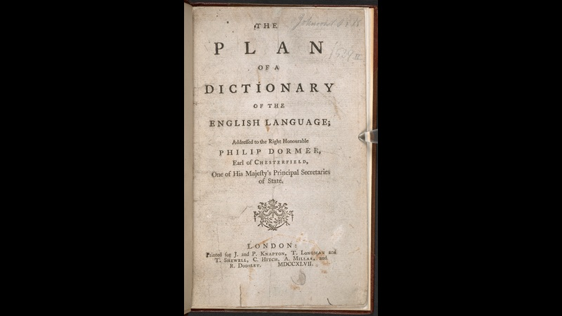 Samuel Johnson's Plan of a Dictionary of the English Language, 1747