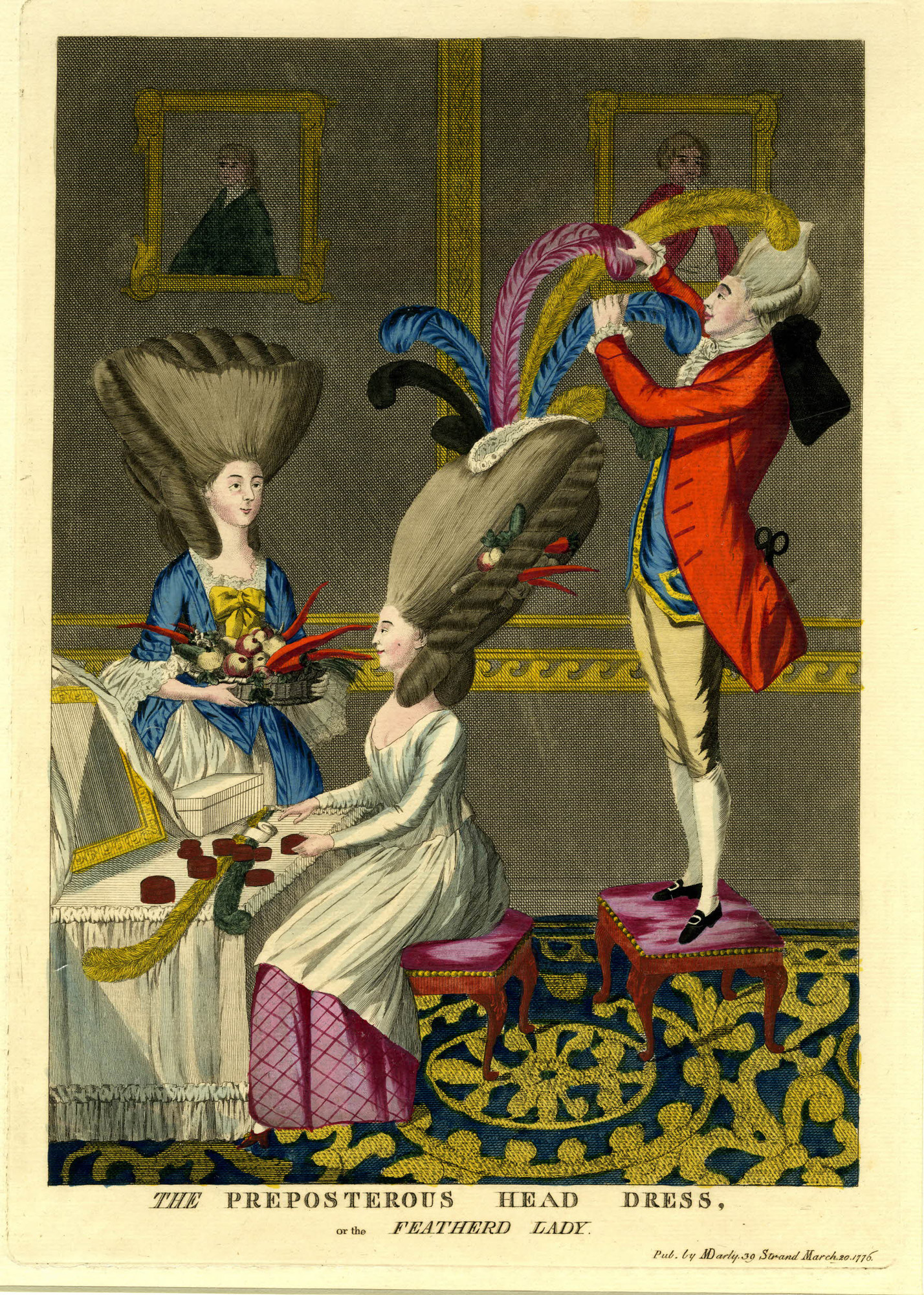Satirical prints on fashion and hairstyles in the late 18th century