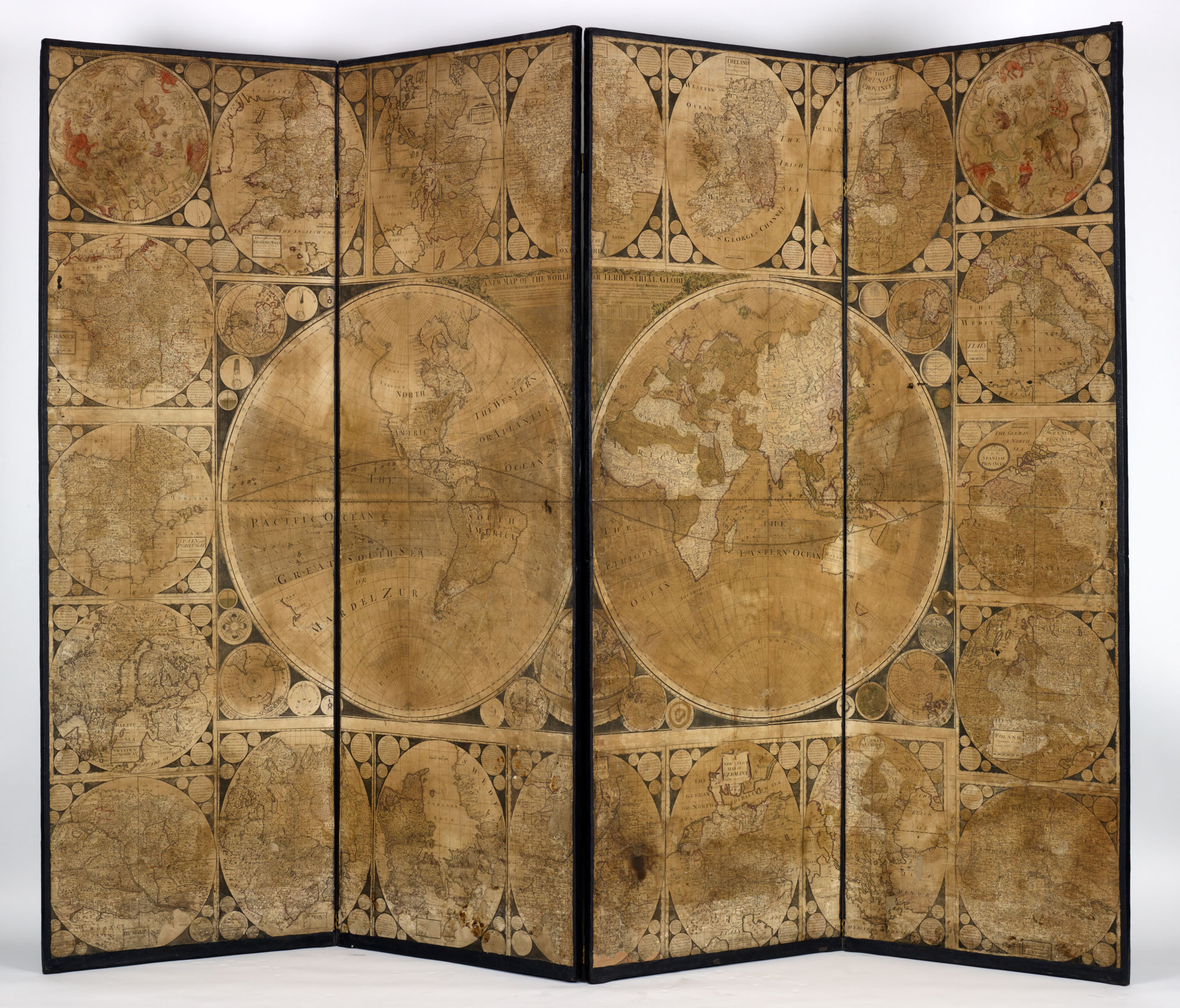 Screen with engraved maps, c. 1750