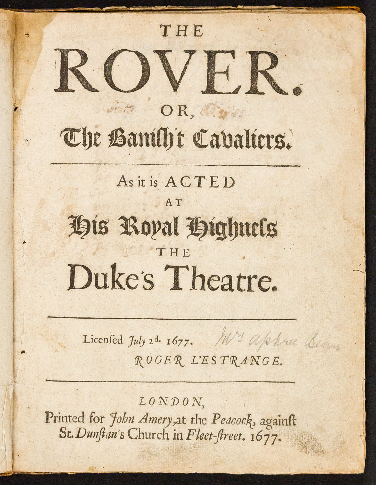 First edition of Aphra Behn's The Rover, with 18th-century prompt-book notes