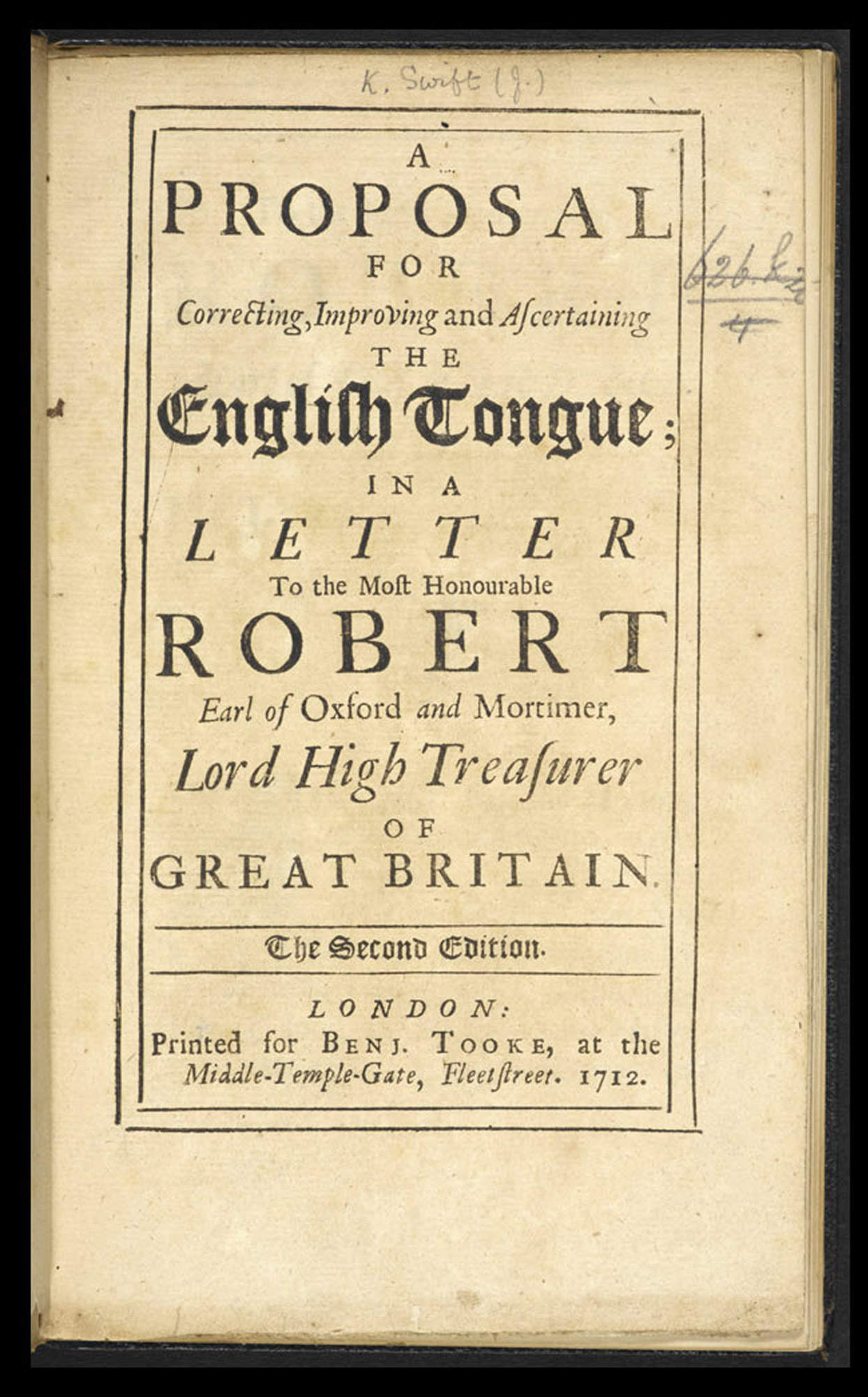 Jonathan Swift's A proposal for ... the English Tongue