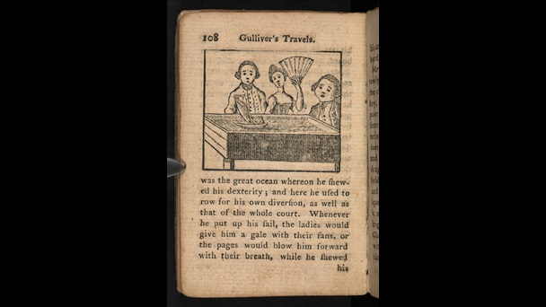 Printed text and woodcut illustration of a miniature Gulliver sailing in a trough, entertaining the queen of Brobdingnag and her courtiers, from a children's version of Gulliver's Travels