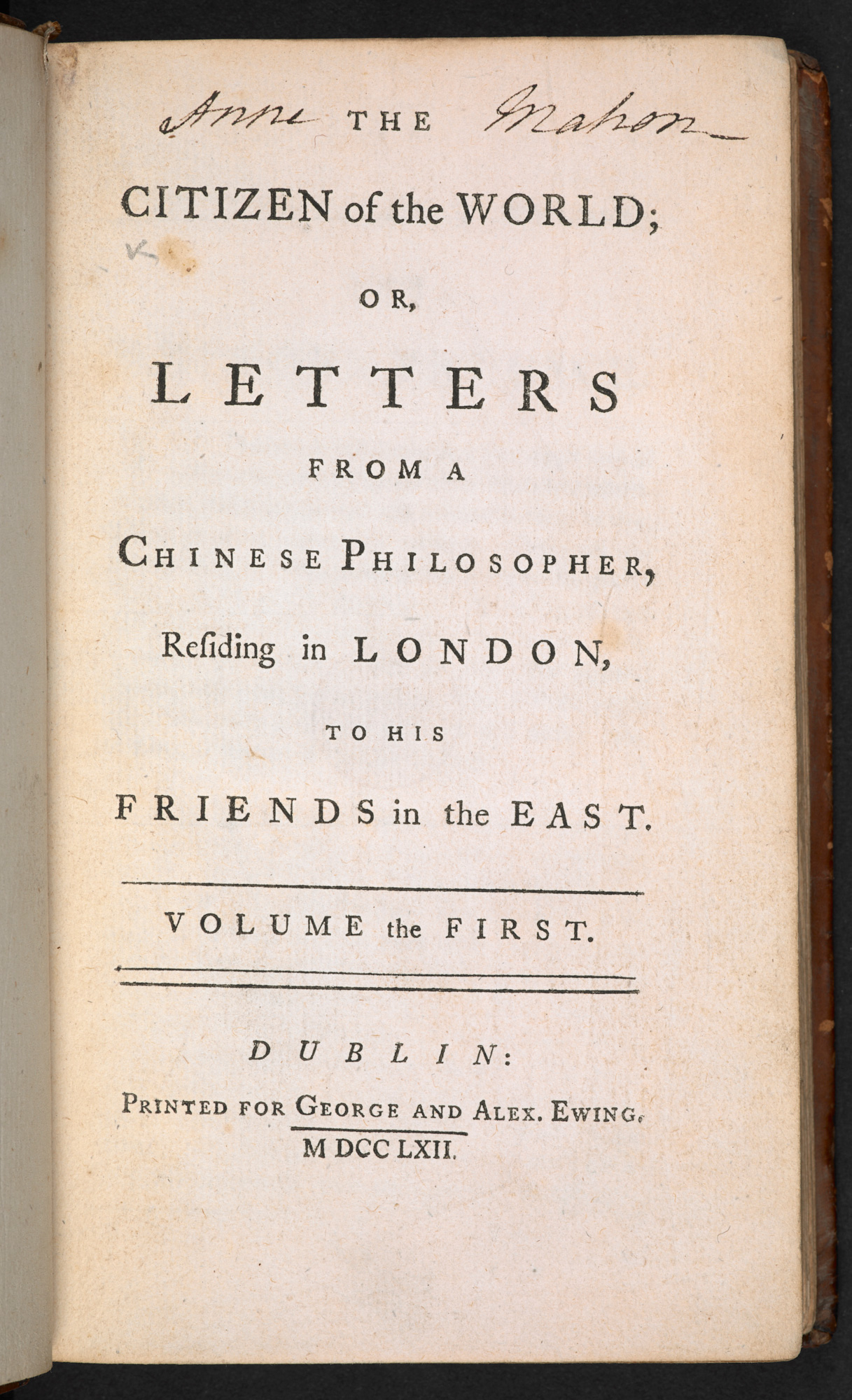 The Citizen of the World; or, Letters from a Chinese Philosopher, 1762