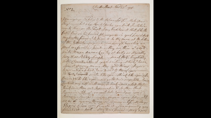 Handwritten letter from Ignatius Sancho, dated 26 November 1776