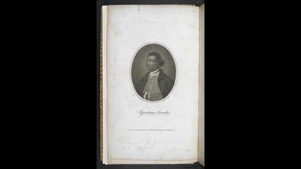 Printed portrait of Ignatius Sancho in formal dress, from a copy of his collected letters