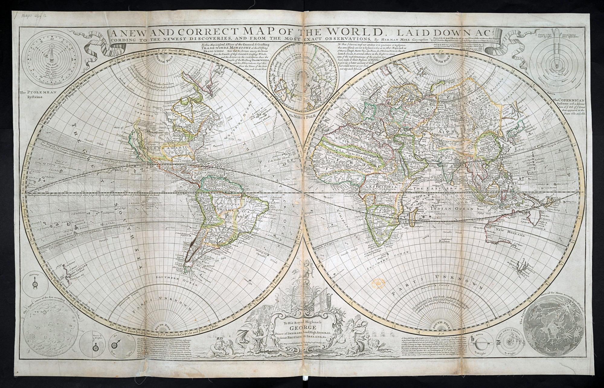 The New Map Of The World.The World Described By Herman Moll 1708 20 The British Library